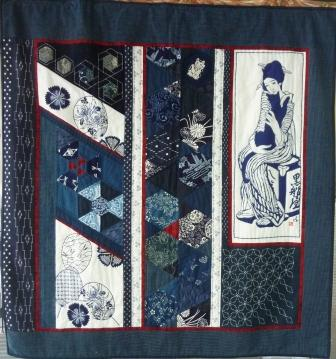 Kyoto Dreaming a Japanese quilt in traditional indigo prints with sashiko stitching
