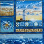 Lighthouse - waves -mariner's compass quilting and craft fabric