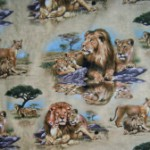 Lions and lion cubs quilting fabric
