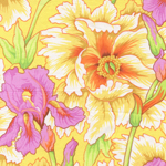 Glorious Phillip Jacobs quilting fabric Iris & Peony in yellow