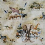 Elephants and African animals quilting fabric