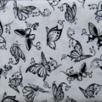 Black & White Butterfly fabric White