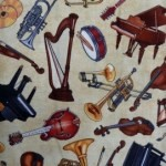 Musical instruments on light fabric