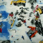 Snowboarding  quilting fabric
